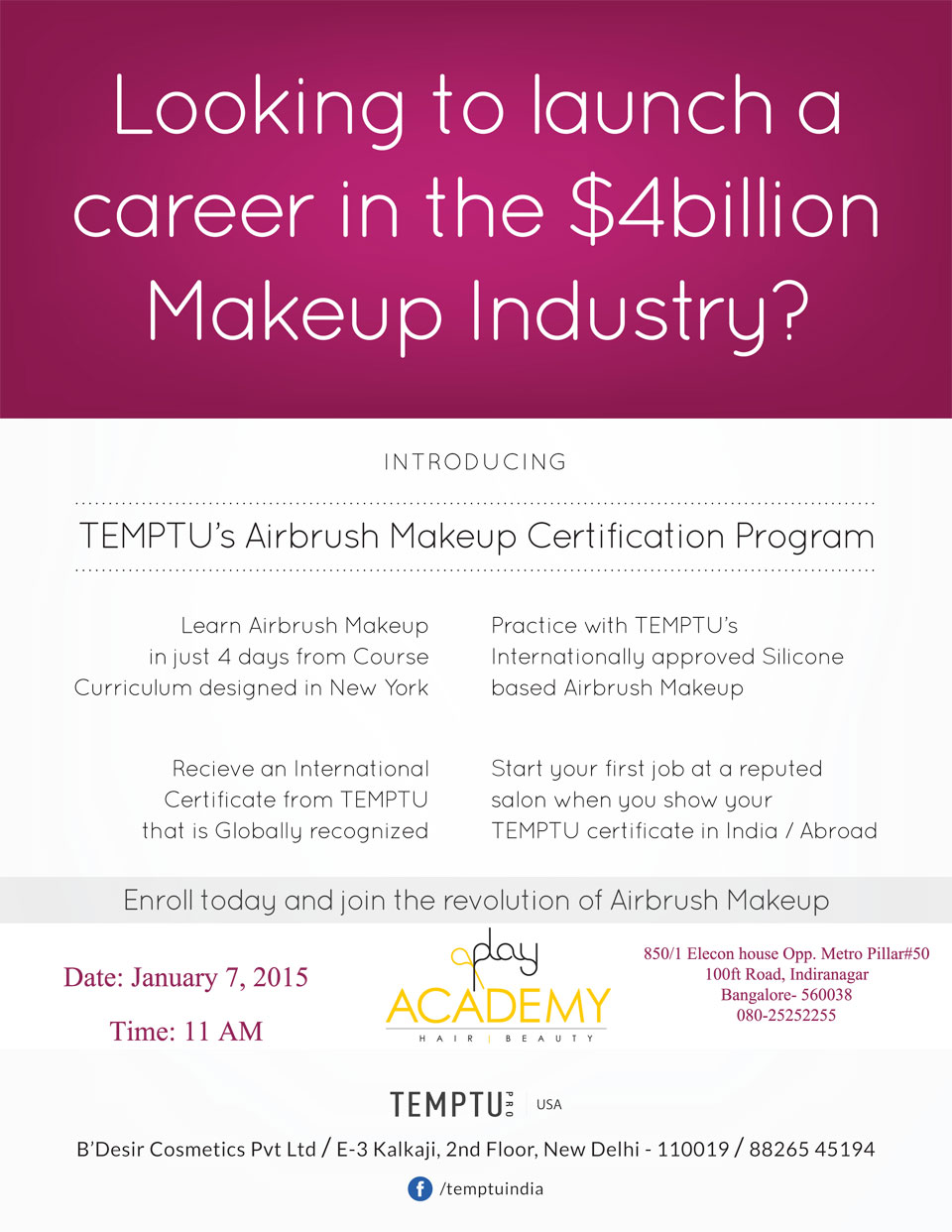 Temptus Airbrush Makeup Certification Program In Bengaluru