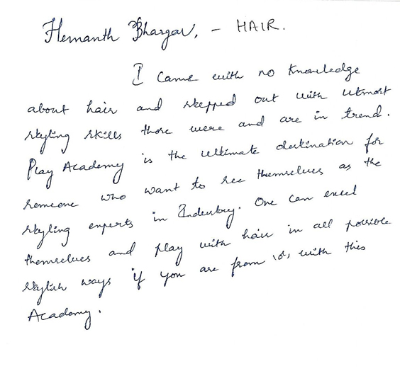 hemanth-bhargav-feedback-play-academy-hairdressing-courses