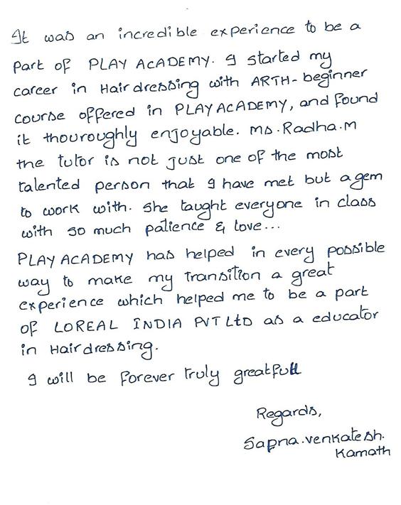 sapna-v-kamath-feedback-play-academy-hairdressing-courses